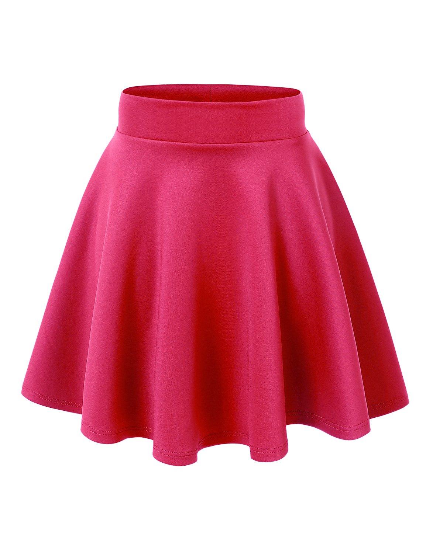 Made By Johnny WB669 Womens Basic Versatile Strechy Flare Skater Skirt S NEON_FUCHSIA