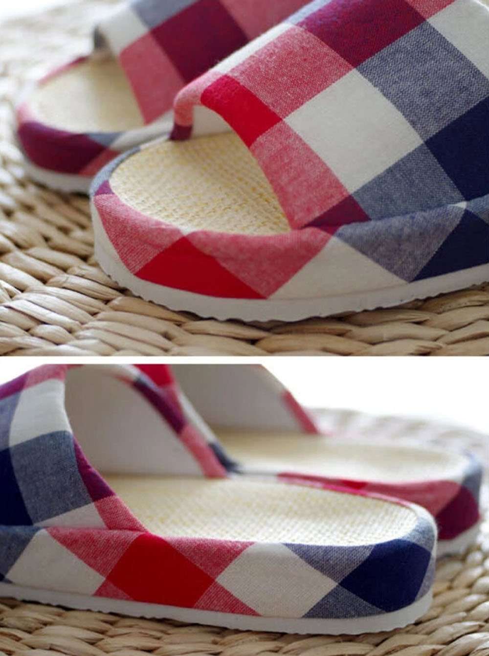 KISS GOLD(TM) Lattice Print Premium Cotton& Papyrus Open-Toes House Slippers Blue by KISS GOLD (Image #2)