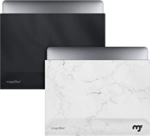 MagicFiber Microfiber 13-13.3 Inch MacBook Pro, Air Sleeve Case (2 Pack) Light Protection and Screen Cleaning for Slim 13-Inch Laptop - Ultra Soft Premium Microfiber in Black, White Marble