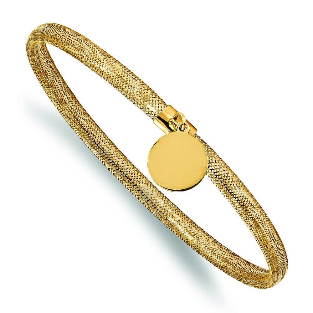 14k Stretch Mesh With Dangle Charm Bracelet