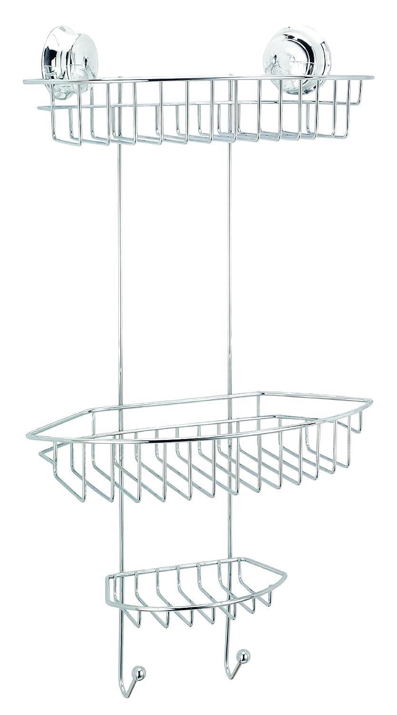 Tier basket shower caddy mild steel rust free stick n lock bathroom - Croydex Twist N Lock Three Tier Basket Chrome Amazon Co Uk Kitchen Home