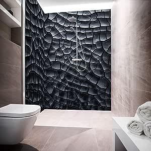 Mampara de ducha de aluminio compuesta como placa individual o juego de placas para ducha de esquina corte a medida – Diseño Lava Cracks Black: Amazon.es: Bricolaje y herramientas