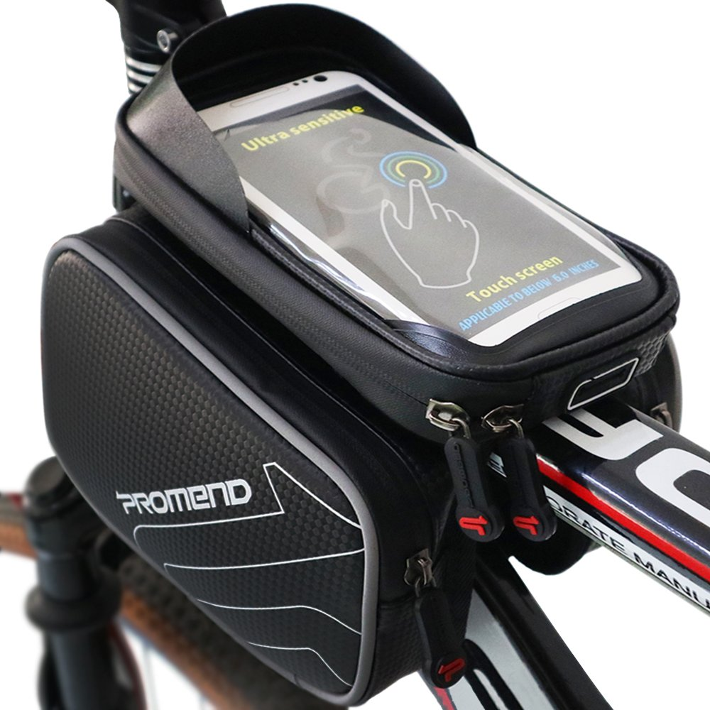 XBoze Bolsa de Bicicleta Cremallera Impermeable Bolsa Marco Frontal Superior Tubo Bolsa Ciclismo Movil con Desmontable y Pantalla Táctil para Smartphone Hasta 6,2 Pulgadas (Negro)