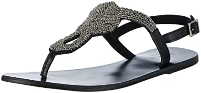 PIECES Damen Pscarmen Leather Sandal Zehentrenner, Schwarz (Black), 36 EU