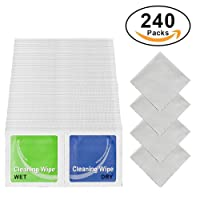 Cleaning Kit, Grehome 240 Packs Pre-Moistened Wet & Dry Screen Wipes for iPhone, iPad, Samsung, Eyeglasses, Laptops, Computers, Mirror and Lens Cleaning Wipes for Canon, Nikon, Sony DSLR Cameras with 4 Cleaning Cloths