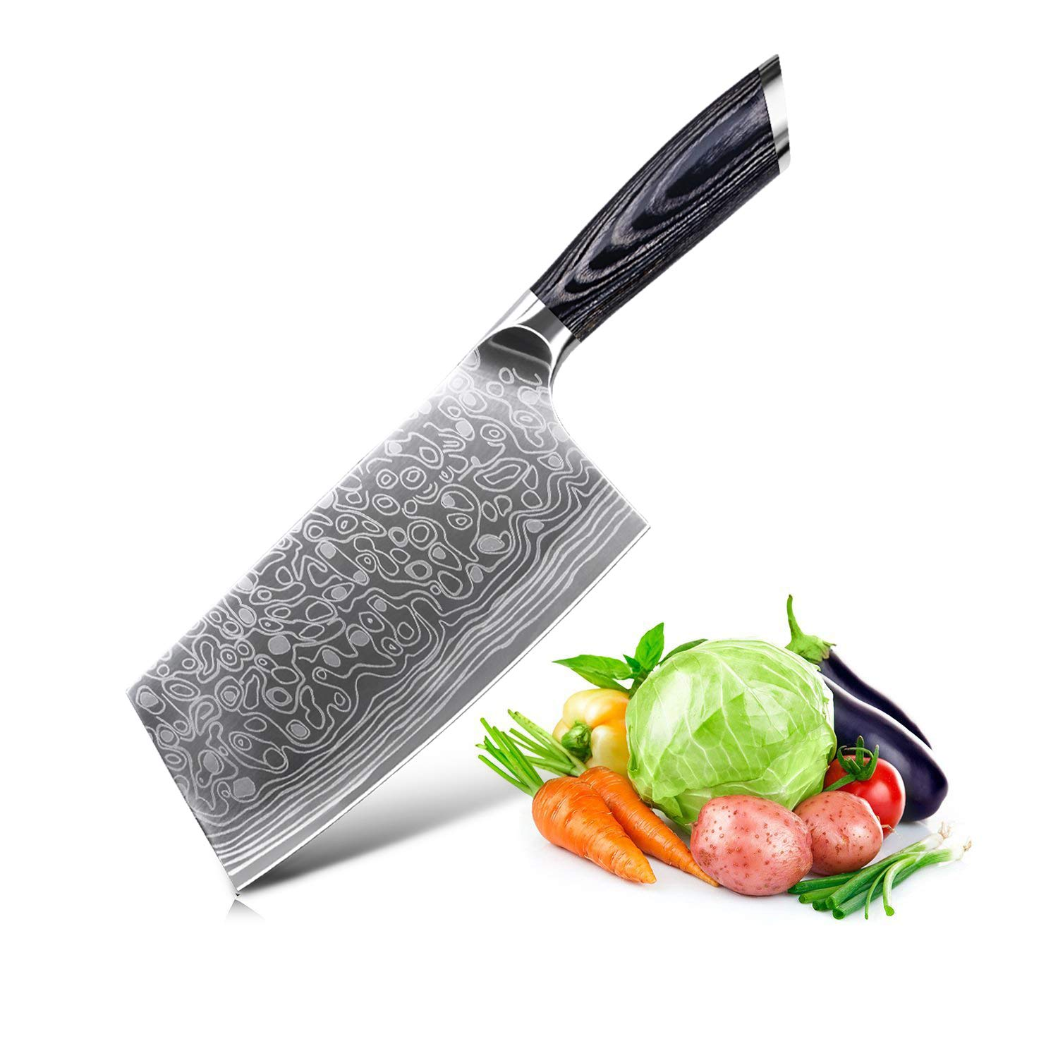 EKUER 7-Inch Chopper Cleaver Butcher Vegetable Knife for Home Kitchen or Restaurant,German High Carbon Stainless Steel with Ergonomic Handle (Style 4)