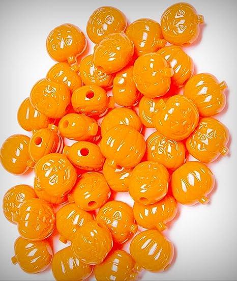Jack-O-Lantern Pumpkin shaped pony beads Opaque Orange 25pc made n USA Halloween