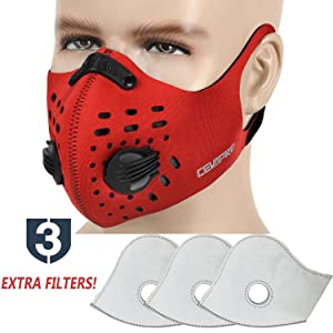 MoHo Dust Mask, Upgrade Activated Carbon Dustproof Mask Windproof Anti-Dust Mask Half Face Mask for Motorcycle Bicycle Cycling Ski Outdoor (Gray +3 Extra Filters)