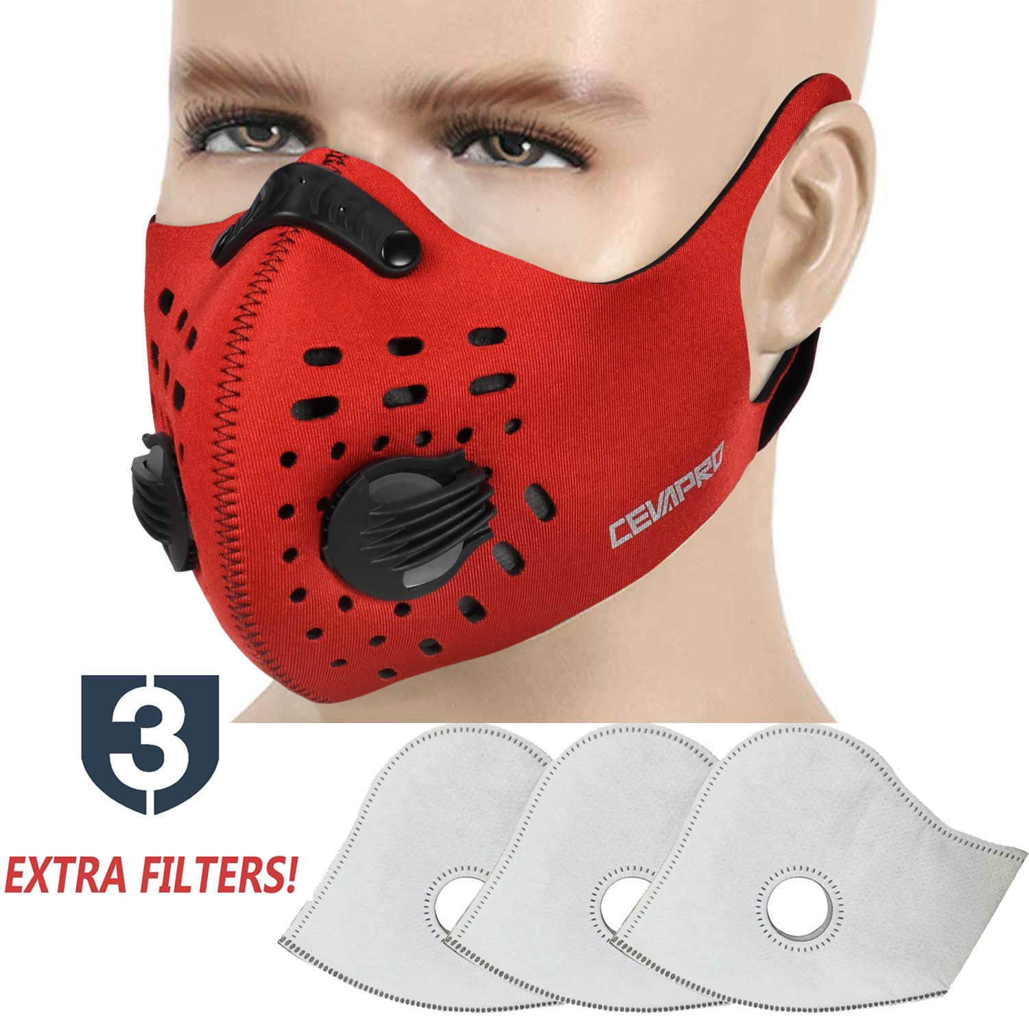 MoHo Dust Mask, Upgrade Version Activated Carbon Dustproof Mask Windproof Foggy Haze Anti-Dust Mask Motorcycle Bicycle Cycling Ski Half Face Mask for Outdoor Activities (1 Set Red) by MoHo (Image #1)