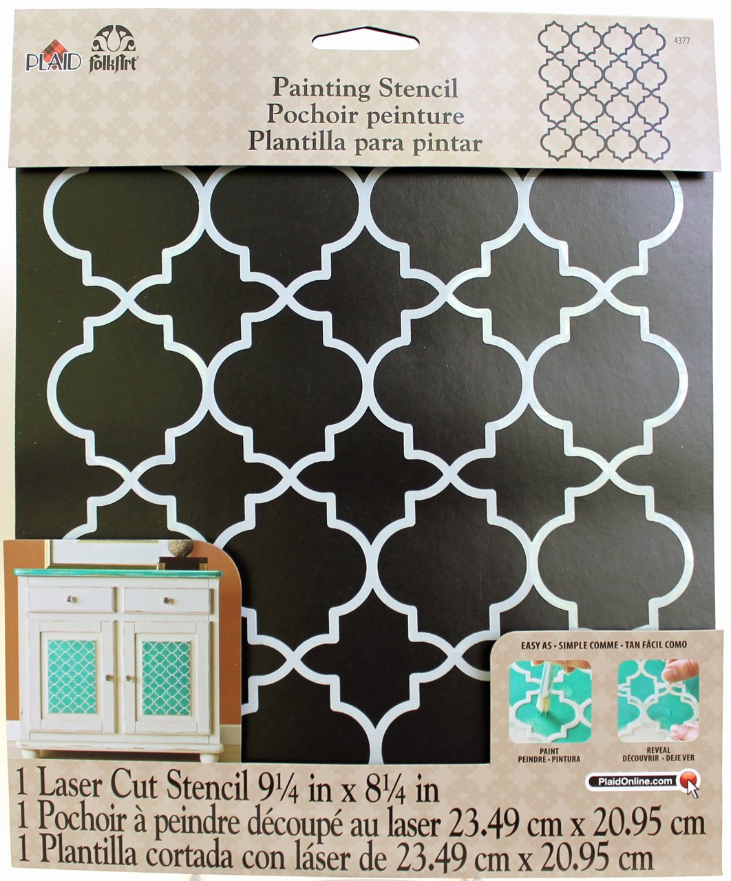 FolkArt Handmade Charlotte Laser Stencils, 4377 Moroccan Tile Plaid Inc craft paint draw