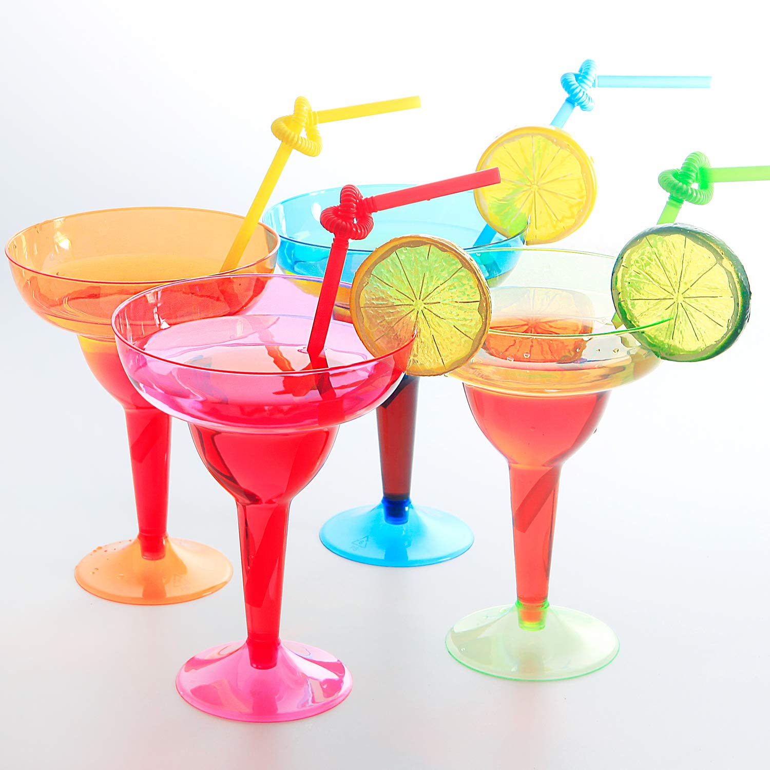 Set of 36pcs Plastic Margarita Glasses, Disposable Party Cups, Colorful Mexican Cocktail Party Decorations, 11oz,Disposable Neon Cups Assorted Four Color, Green, Blue, Pink, Orange, Supernal by Supernal