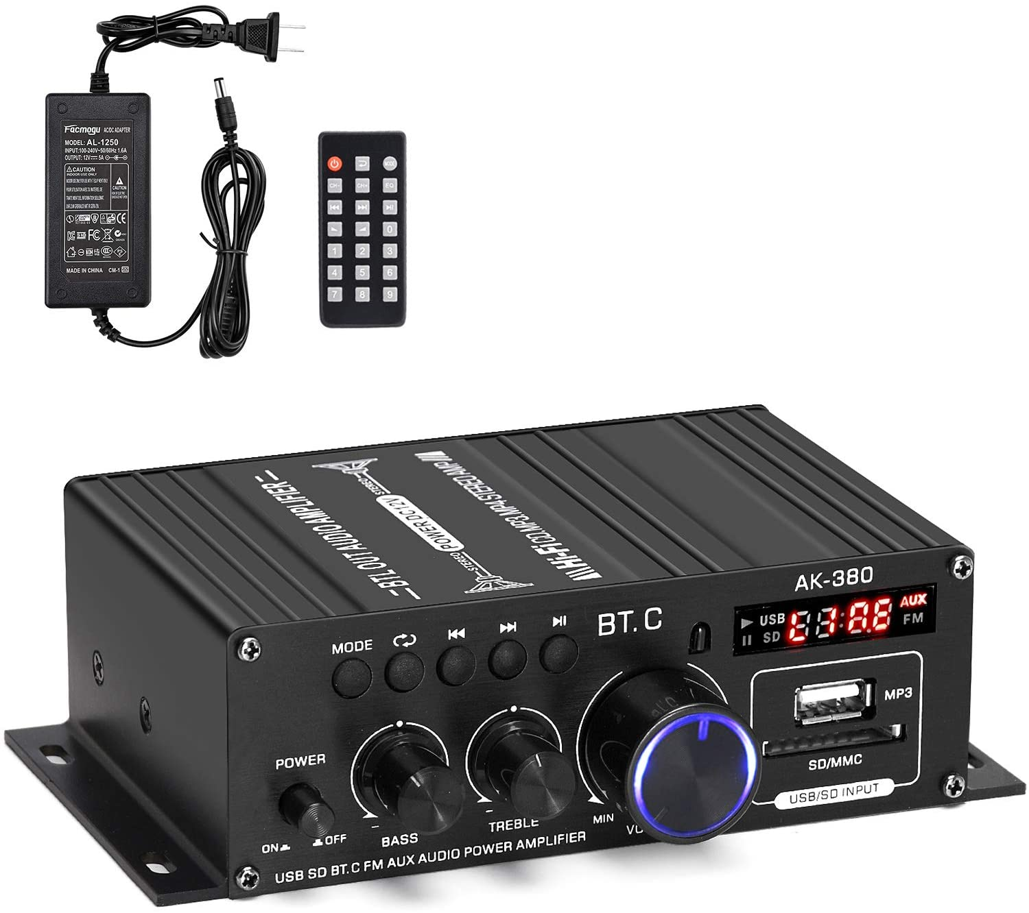 Facmogu AK380 400W+400W Mini Audio Power Amplifier, 2.0 CH Bluetooth 5.0 Receiver Speaker Amp with 12V 5A Power Supply, Bass & Treble Control Music Player Sound Amplifier for Car Home Garage