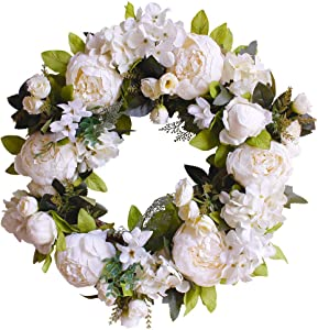 FUNME Artificial White Peony Wreath Welcome Front Door Wreath Hydrangea Wreath for Indoor Outdoor Wall Home Decor (16'' White Peony)