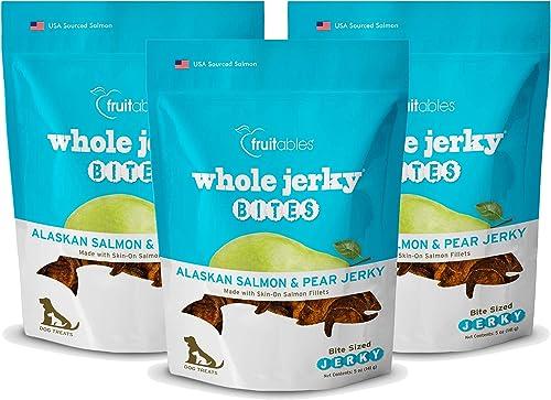 Fruitables 5 Ounce Whole Jerky Bites Alaskan Salmon and Pear Dog Treats