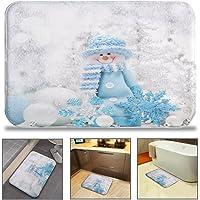QIYI Christmas Bath Rug Super Soft Non-Slip Bathing Mat Machine Washable Quickly Drying Office Floors Mats Kitchen Dining Living Bathroom Tub Rugs 16″ W x 24″ L (40 x 60 cm) - Blue Hat Snowman