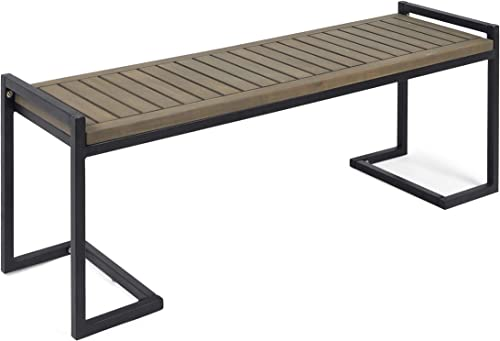 Christopher Knight Home 306427 Noel Outdoor Industrial Acacia Wood and Iron Bench