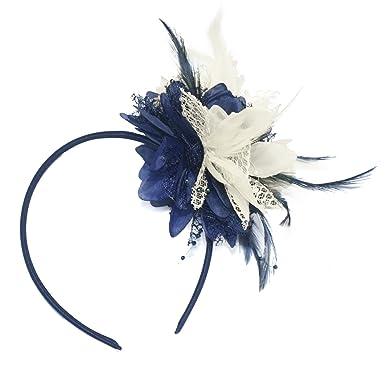 154c78532bff2 Navy Blue and Cream Ivory Fascinator on Headband for Ascot Weddings   Amazon.co.uk  Clothing