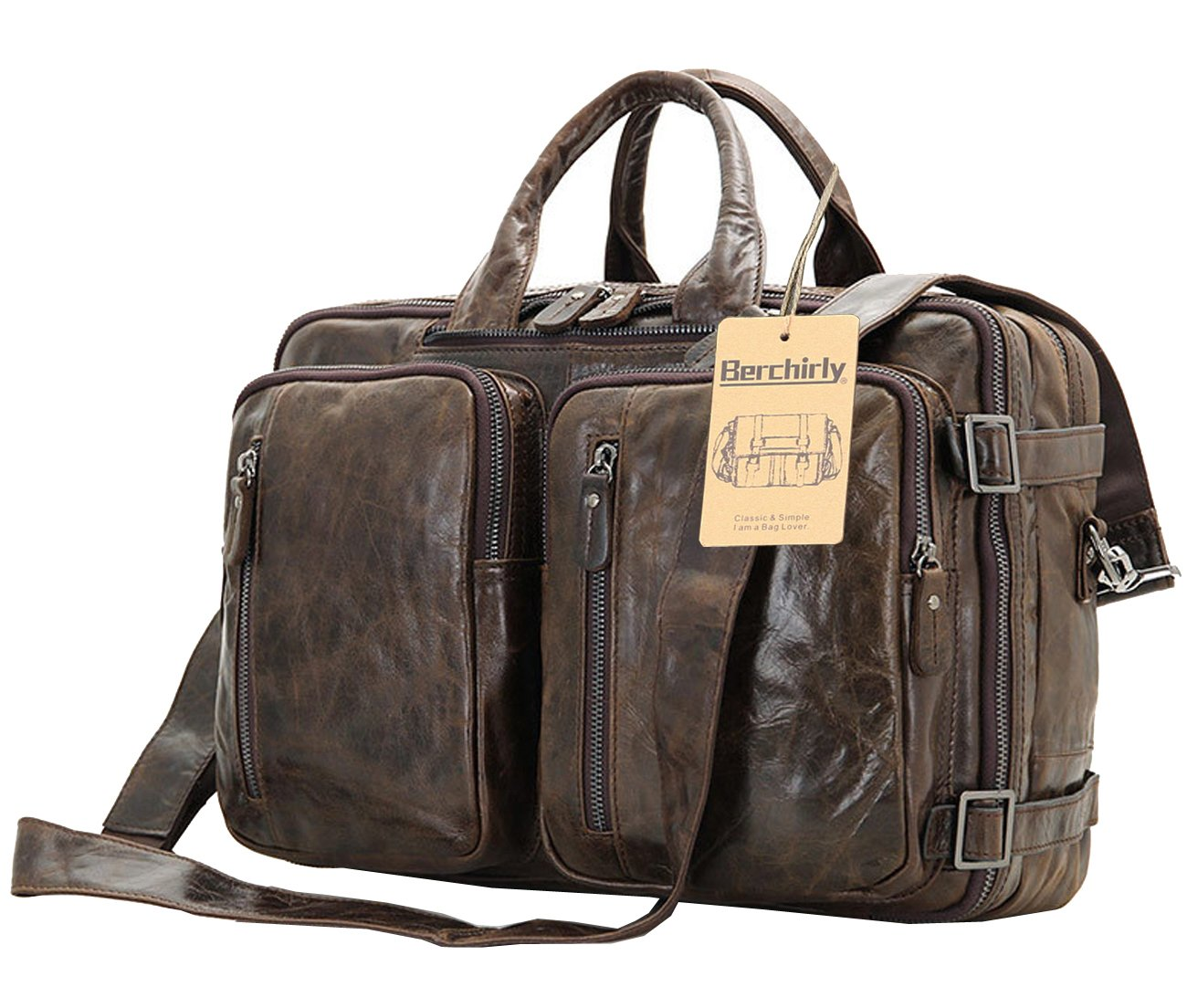 Berchirly Vintage Multifunction Genuine Leather Briefcase Expandable Laptop Backpack Messenger Bag Rucksack BookBag Daypack Case by Berchirly