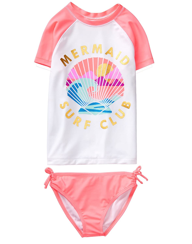Crazy 8 Girls' Short Raglan Sleeve Rashguard Set