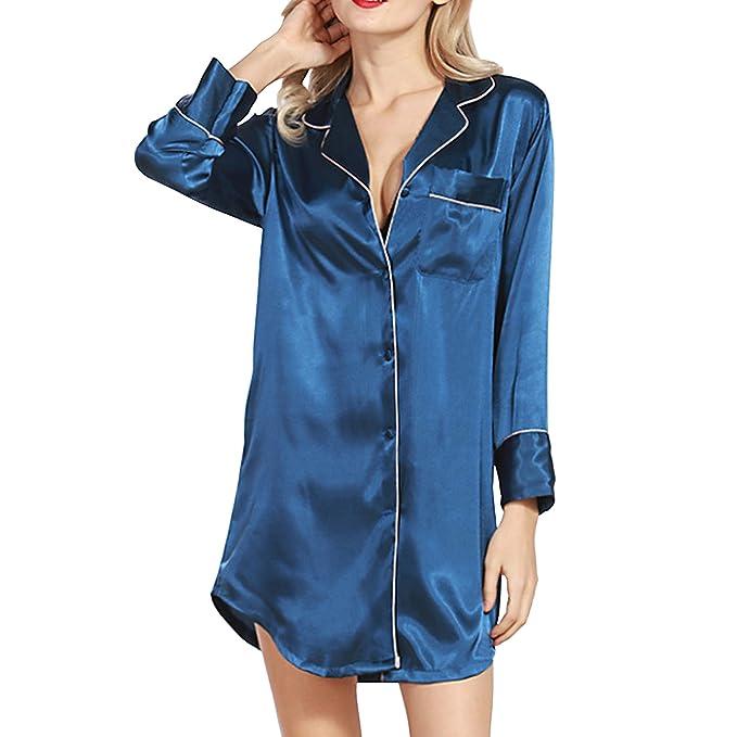 Sidiou Group Seda de Imitación Bata de Noche Mujer Vestido Pijama Manga Larga Bata de Satén Ropa de Dormir para Mujers Saten Albornoz: Amazon.es: Ropa y ...