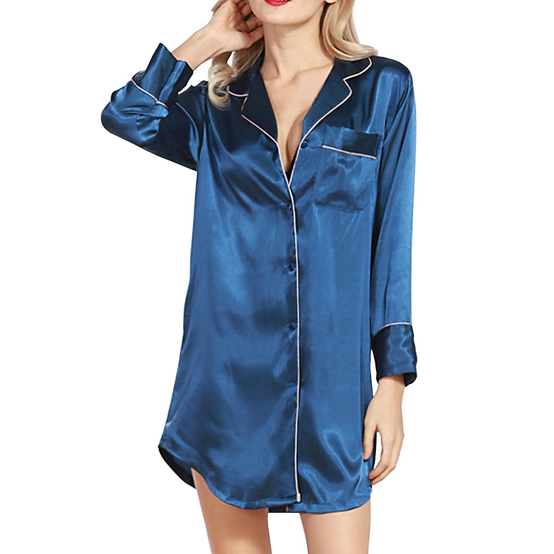 SiDiOU Group Night Shirt Satin Nightshirt Long Sleeve Button Down Sleep Shirt