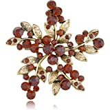 Alilang Smoked Synthetic Topaz Amber Crystal Flower Floral Wheel Bunch Brooch Pin