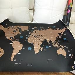 Mapa Mundi para Rascar Grande 841 * 594mm, Mapamundi Super DECORATIVO (de City Travel), Rasca Países Visitados del Mundo, Regalo Original para Viajeros-Exploradores-Coleccionistas, Incluye Accesorios: Amazon.es: Oficina y papelería