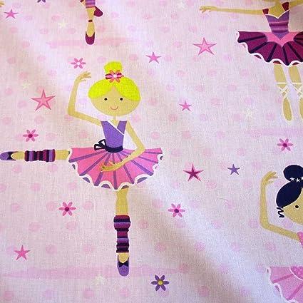 343c3d684a Tessuto cotone a forma di Ballerina Ballet punti stelle rosa: Amazon ...