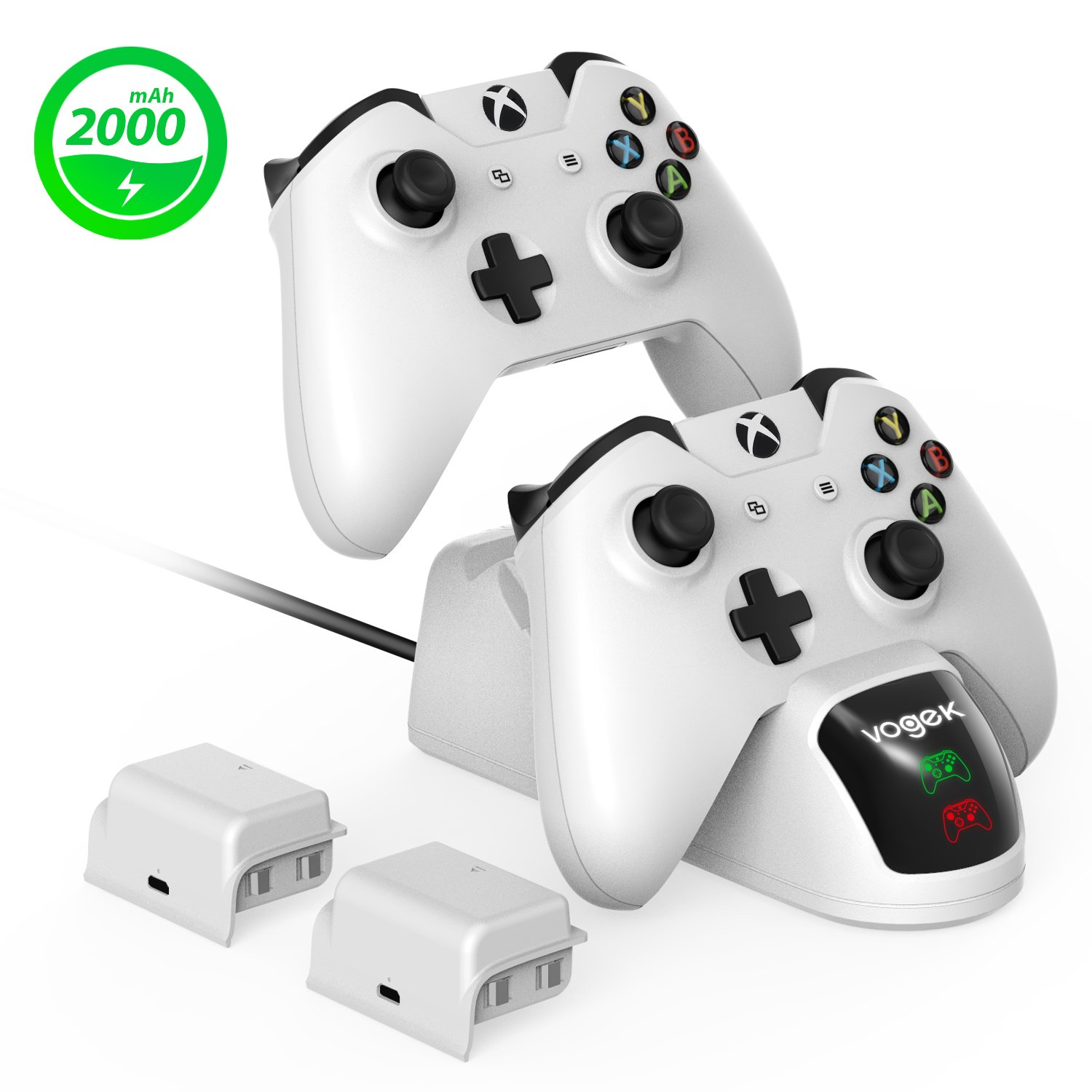 Xbox Charger Station Xbox One Charging Dock - Vogek Xbox Wireless Controller Charger + 2 × 2000mAh Rechargeable Battery Pack for Standard and Elite Controllers White