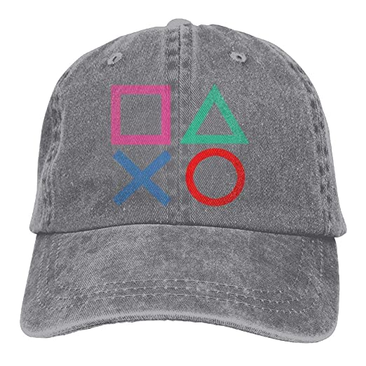 888c4eb357a62 Amazon.com  E-Isabel Playstation Joypad Adjustable Cross-Country Cotton  Washed Denim Cap Hat Ash  Clothing