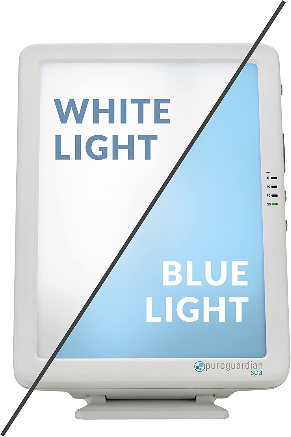 PureGuardian SPA50CA Light Therapy Lamp, 10,000 LUX Full Spectrum Customizable Blue or White Light Intensity, 1 Count