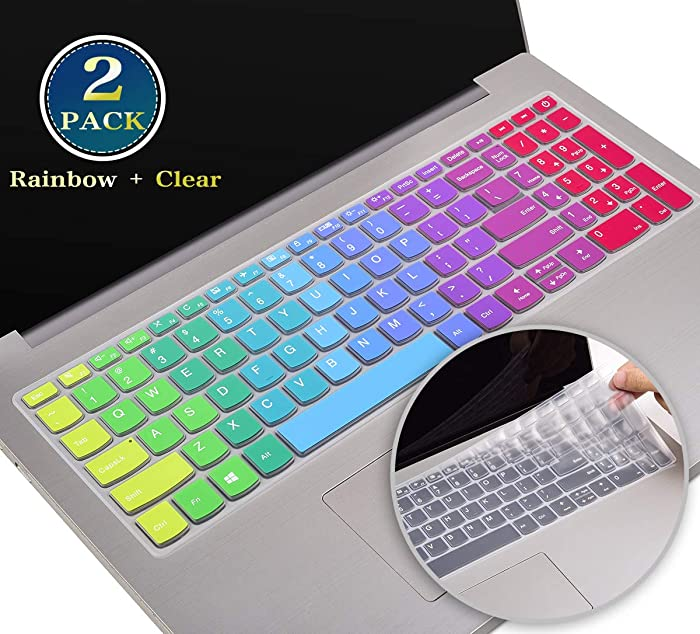 """2 Pack Silicone Keyboard Cover for 2020 2019 Lenovo ideapad l340 330 320 330s 520 s540 720s 130 s145 s340 15.6 Inch, Lenovo ideapad l340 330 320 17.3"""", 15.6 Lenovo V330 V130(Rainbow+Clear)"""