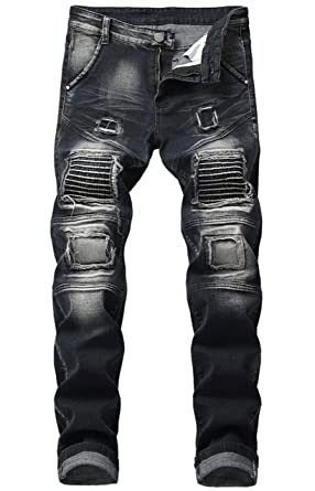 471f029d Aiyino Men's Ripped Slim Straight Fit Biker Jeans with Zipper US 28-01 Black