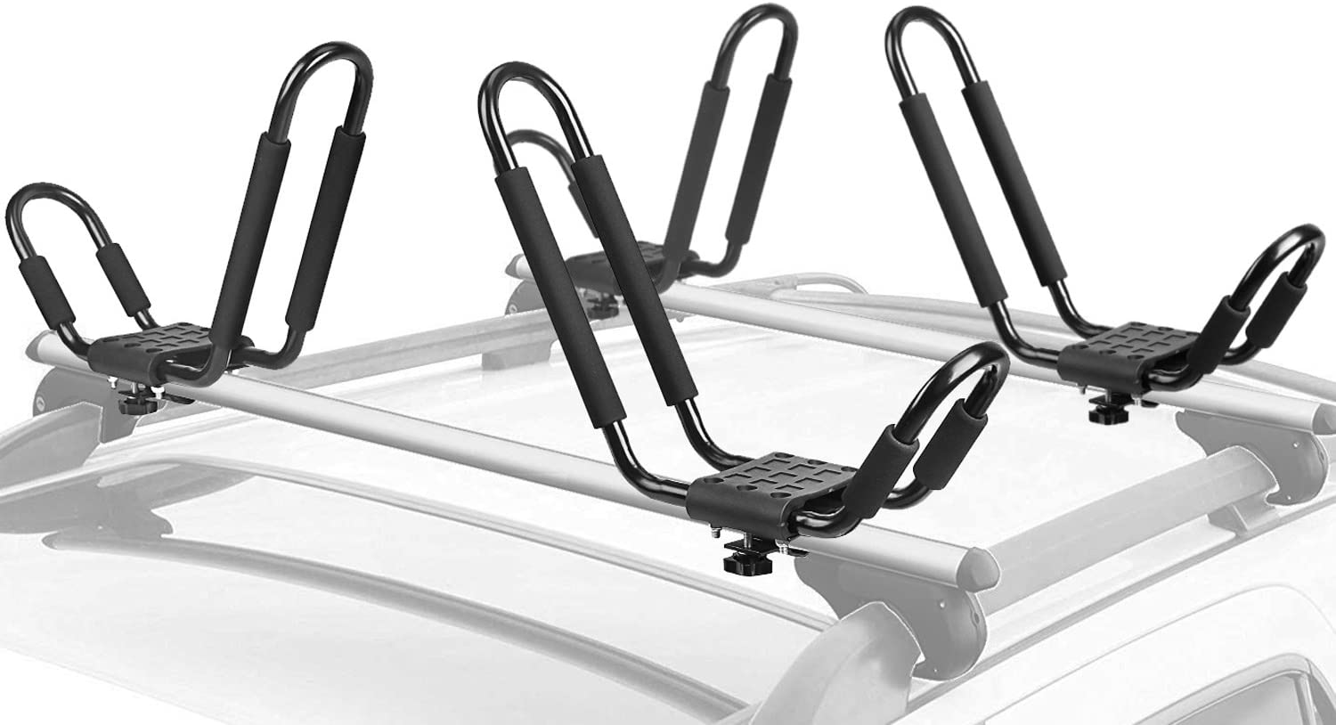 4PCS Heavy Duty Shape Bars Canoe Kayak Carrier Car Roof Rack With Straps