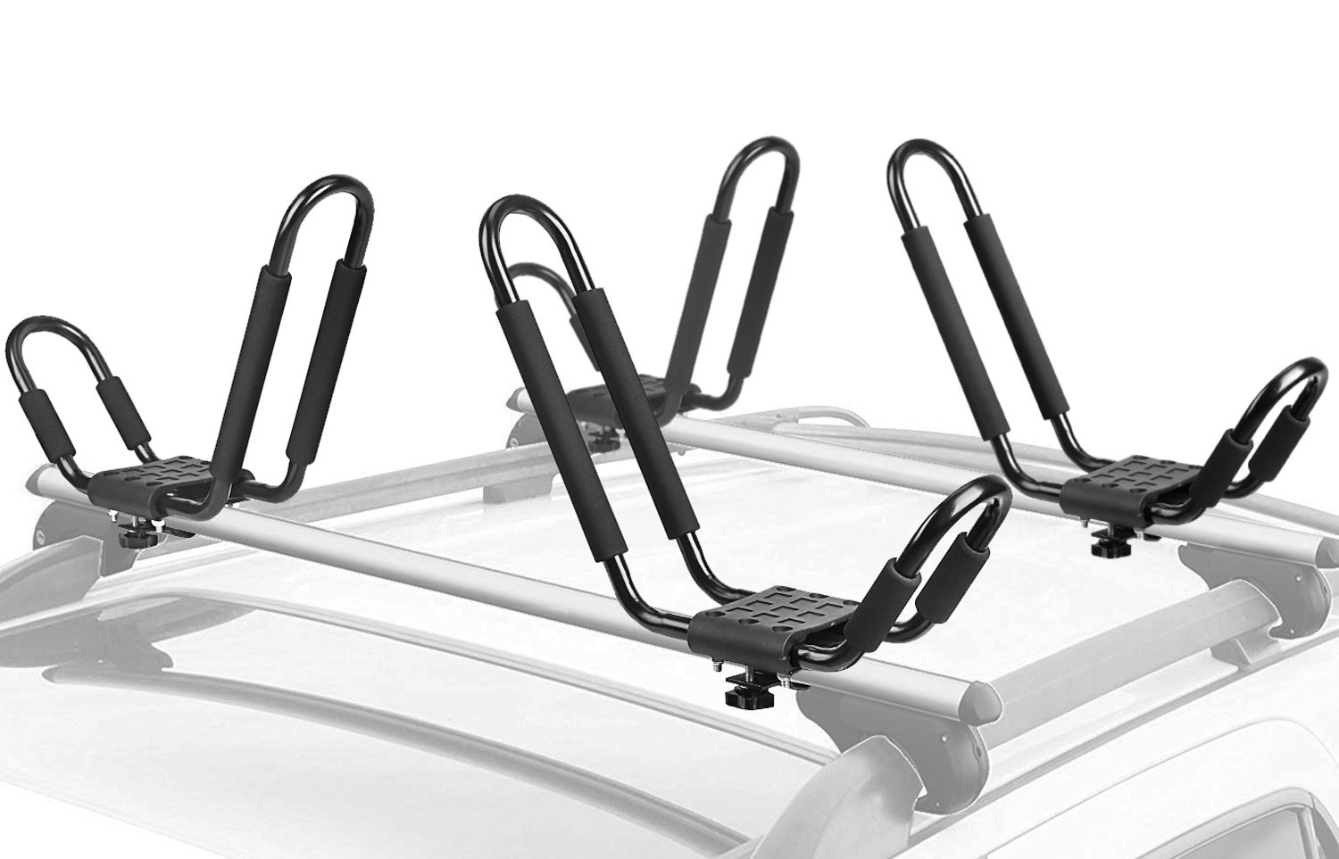 Leader Accessories Kayak Rack 4 PCS/Set J Bar for Canoe Surf Board SUP On Roof Top Mount Crossbar with 4 pcs Tie Down Rachet Straps