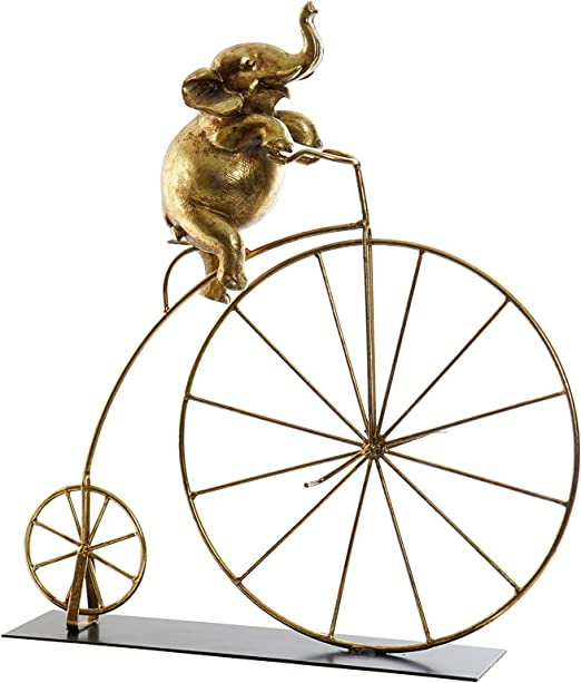 CasaTua Elefante Dorado sobre Bicicleta – de Resina y Metal – 47 x ...