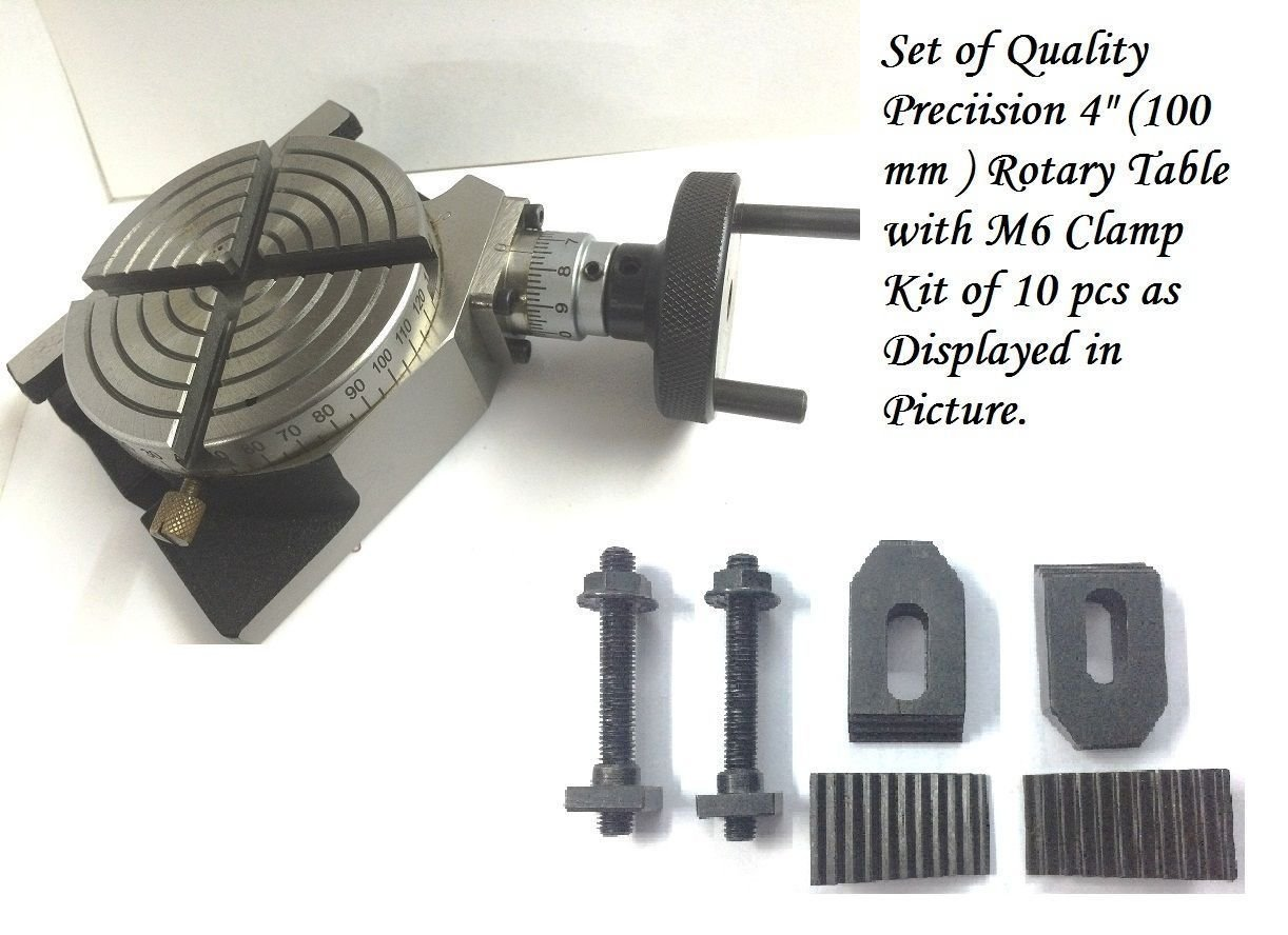 4'' Inches (100 mm) Rotary Table 4 Slot for Milling Machine + M6 clamp kit