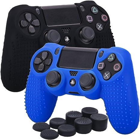 YoRHa Tachonado silicona caso piel Fundas protectores cubierta para Sony PS4 /slim/Pro Mando x 2(negro + azul) Con PRO los puños pulgar thumb gripsx 8: Amazon.es: Videojuegos
