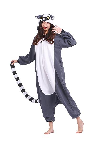 YUWELL Unisex Kigurumi Pijamas Cosplay Animales Vestuario Halloween Navidad, Lemur de la Cola del Anillo