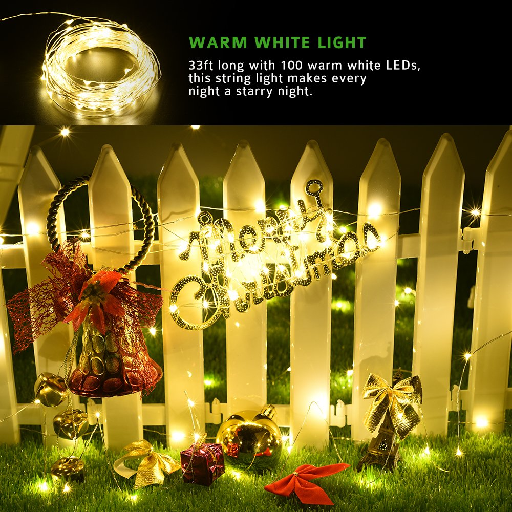 Galleon Mpow Solar String Lights 33ft 100led Outdoor