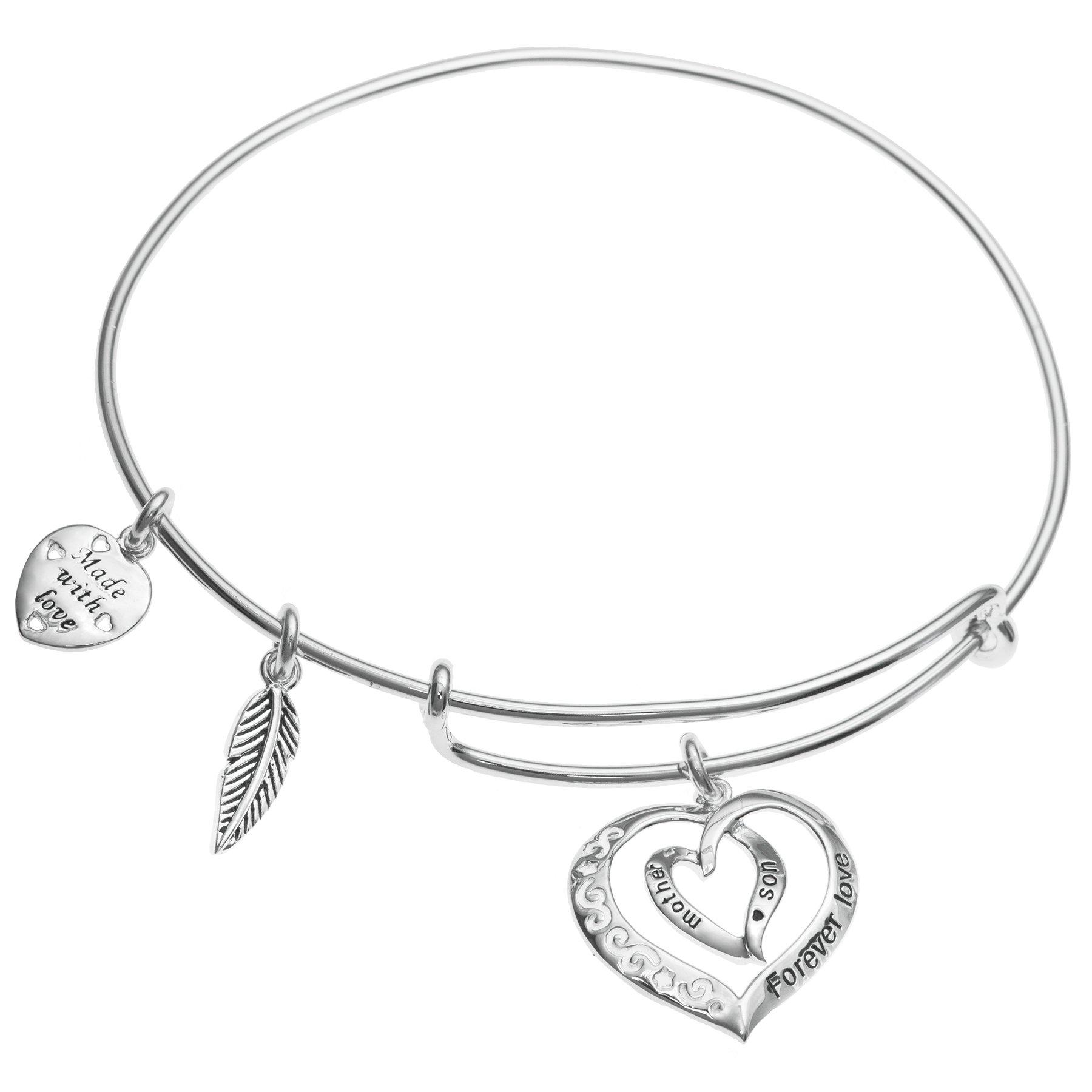 Sterling Silver Mother Son Forever Love Heart Leaf Dangle Charm Family Adjustable Wire Bangle Bracelet