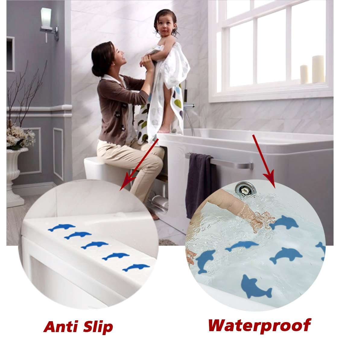 S/&X Non-Slip Bath Stickers,Grippy Dolphin Adhesive Safety Treads for Bathtubs//Showers//Pools//Bathrooms//Stairs,4.7 Inch X 3.9 Inch,12PCS Per Pack