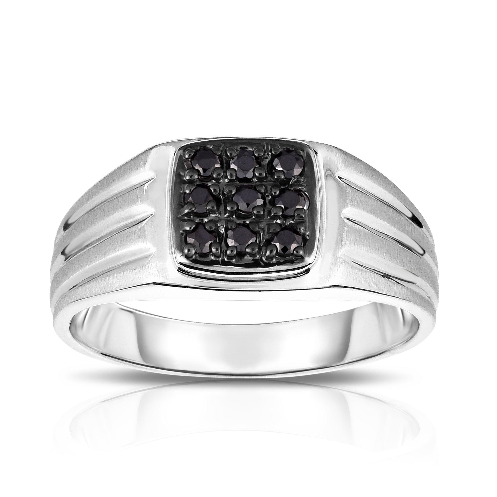 Noray Designs 14K White Gold Diamond (0.24 Ct, I1-I2 Clarity, Black Color) Men's 9-Stone Ring