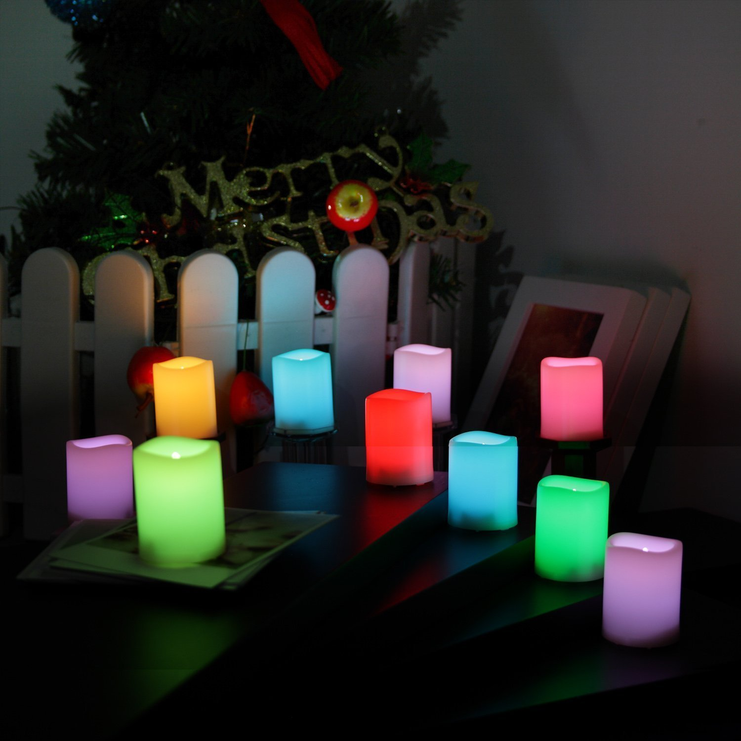 Set of 10 , Mult-Color changing LED Flameless Votive Candles with Timer and Romote,1.5'' (D)x2''(H) 100+H long Battery life,Realistic Melt Edge Pillar tealight for Wedding