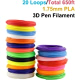3D Pen Filament Refills, PACKGOUT 1.75 mm Glowing in the Dark Color PLA Filament, 20 Colors 650 Feet (No Odor and Fumes)