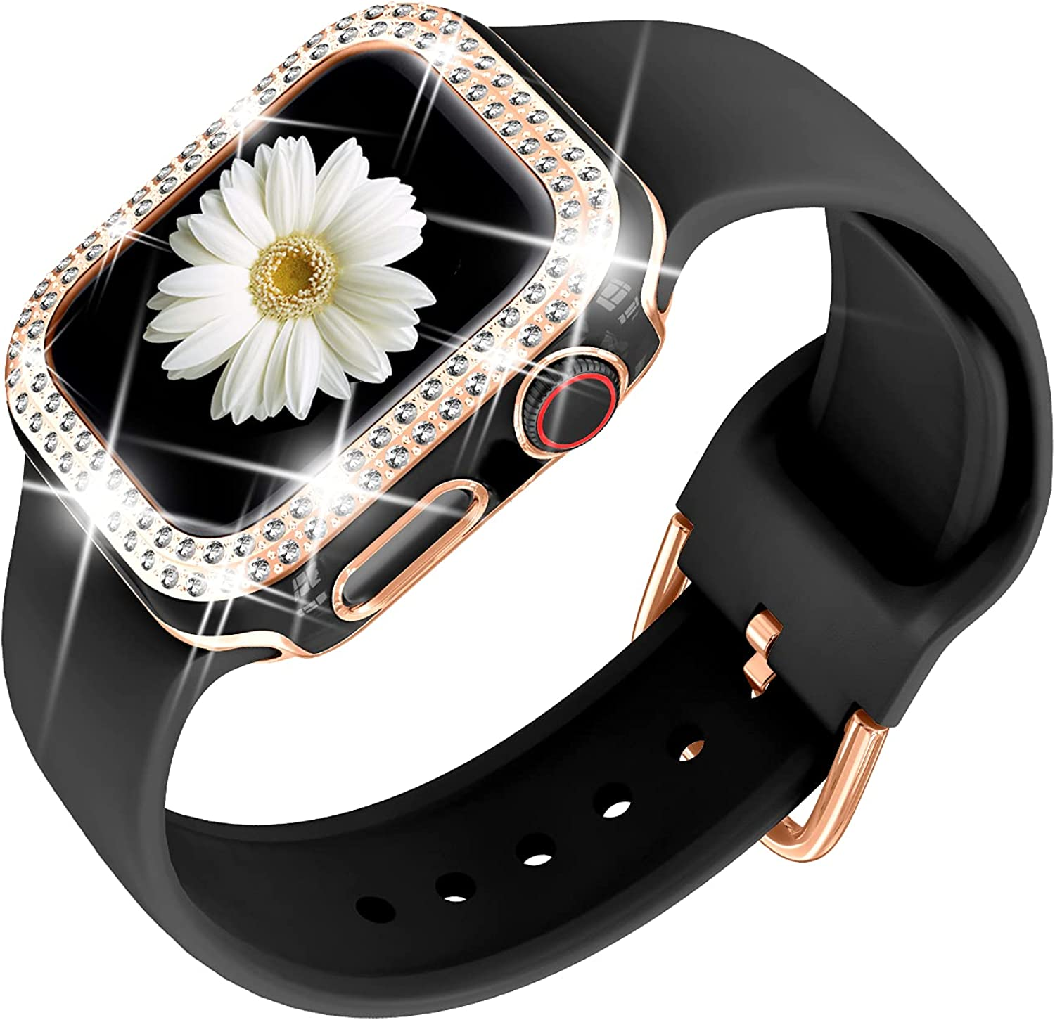 DABAOZA Compatible for Apple Watch Band with Bumper Glitter Case With Rosegold Buckle, Women Silicone Soft Comfortable Adjustable Strap with Rosegold Buckle for iWatch Series