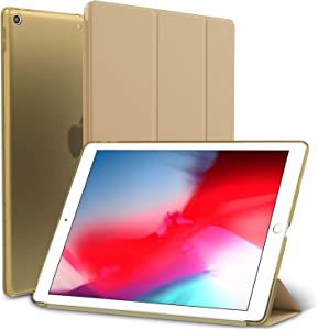ROARTZ iPad Mini 5 Case, Gold Slim-Fit Smart Rubber Folio Hard Translucent Frosted Cover Light-Weight Wake Sleep for Apple iPad Mini 5th Generation 2019 Model A2133 A2124 A2126 7.9-inch Display