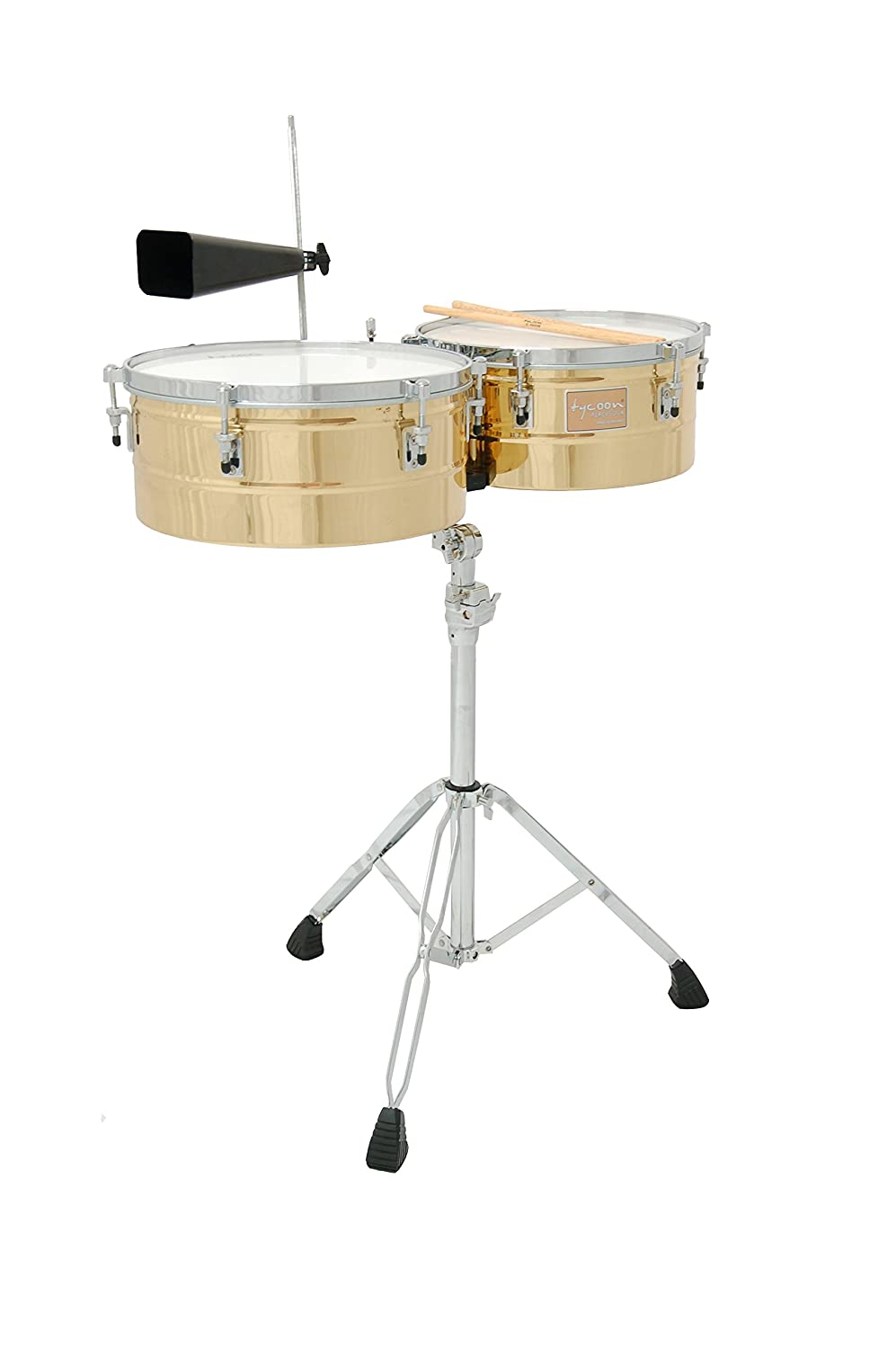 Tycoon Percussion 14 Inch & 15 Inch Brass Shell Timbales TTI-1415 BRS