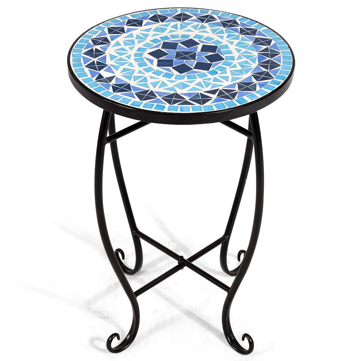"NanaPluz 21"" H Cobalt Blue Round Plant Stand Steel Scheme Garden Decor Display Accent Table Curved Legs Mosaic Inlay Top with Ebook"