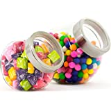 Elm Cove Candy Jars Storage - 2 PC set - Clear Glass with Metal Lid